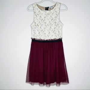 Speechless    lace fit and flare dress maroon mesh